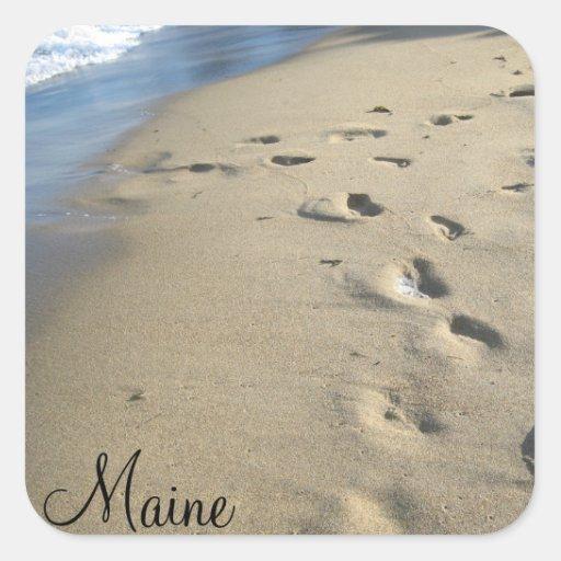 Pasos en una playa arenosa (Maine) Pegatina Cuadrada