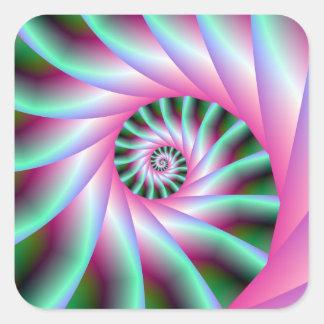Pasos espirales del rosa y del verde pegatina cuadrada