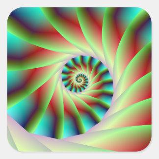 Pasos espirales rojos y azules verdes pegatina cuadrada