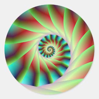 Pasos espirales rojos y azules verdes pegatina redonda