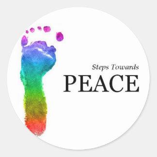 Pasos hacia paz pegatina redonda