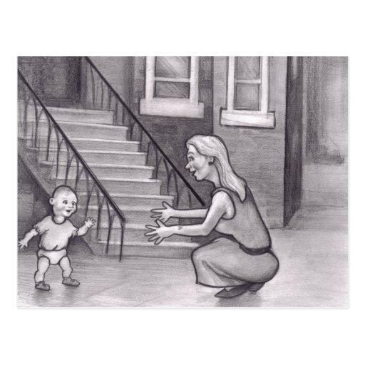 Pasos que caminan del bebé primeros a mimar postal