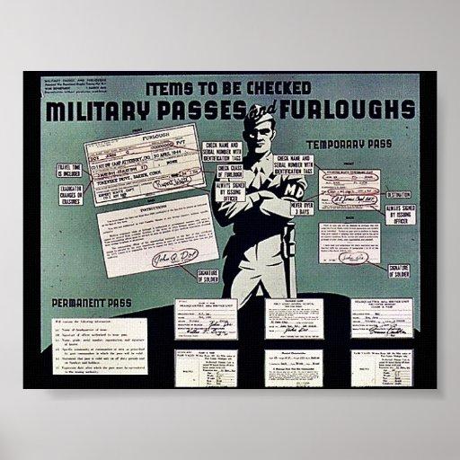 Pasos y permisos de los militares poster