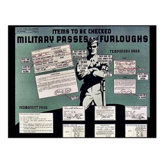 Pasos y permisos de los militares tarjeta postal