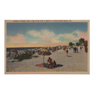 Pass-a-Grille Beach, Florida - Sunbathers on Poster