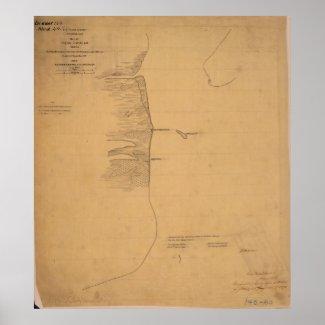 Pass Cavallo Civil Texas War Map Poster