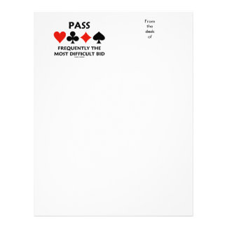 Pass Frequently The Most Difficult Bid Bridge Letterhead