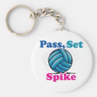Pass Set Spike Basic Round Button Keychain