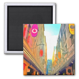Passage between colorful buildings magnet