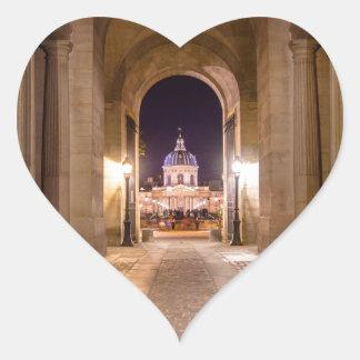 Passage in Louvre to bridge of arts in Paris Heart Stickers