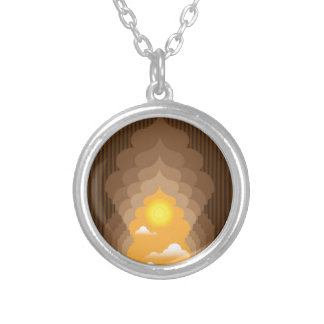 Passage to the Sun vector Silver Plated Necklace