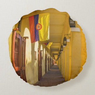 Passageway and Flags Round Pillow