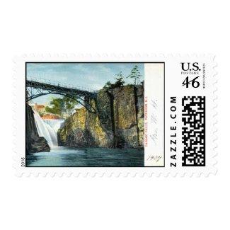 Passaic Falls, Paterson NJ 1907 vintage stamp