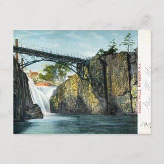 Passaic Falls, Paterson NJ 1907 vintage postcard