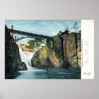 Passaic Falls, Paterson NJ 1907 vintage print