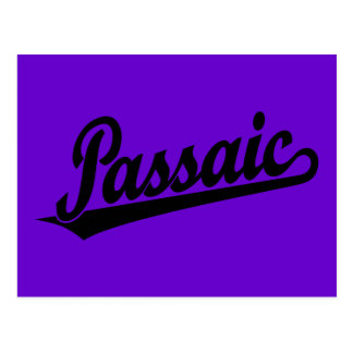 Passaic script logo in black postcards