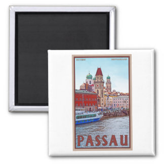 Passau - Donau Waterfront 2 Inch Square Magnet