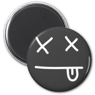 Passed Out Emoticon 2 Inch Round Magnet