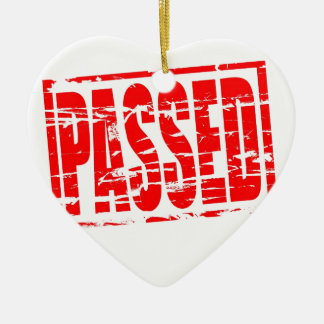 Passed red rubber stap effect ceramic ornament