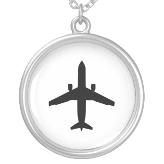 passenger Aeroplane Silver Plated Necklace