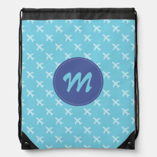 Passenger Airplane Silhouette Pattern Blue Drawstring Bag