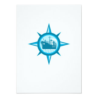 Passenger Cargo Ship Ocean Liner Compass 5.5x7.5 Paper Invitation Card