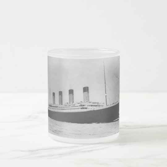 Passenger Liner Steamship RMS Titanic Frosted Glass Coffee Mug
