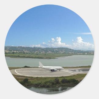 passenger plane classic round sticker