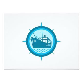 Passenger Ship Cargo Boat Retro Personalized Invitations