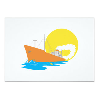 Passenger Ship Cargo Boat Retro Custom Invitations