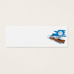Passenger Ship Cargo Boat Retro Mini Business Card
