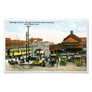 Passenger Station Chicago Northwestern Railroad Photograph