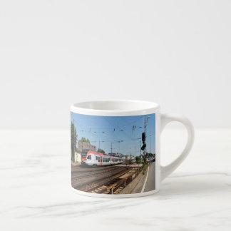 Passenger train in coarse home on the Rhine Espresso Cup