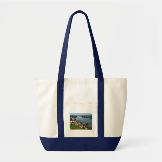 Passenger train in coarse home on the Rhine Tote Bag