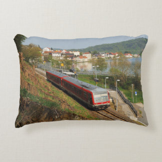 Passenger train in heart living at the Edersee Accent Pillow