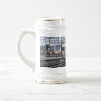 Passenger Trains arriving at station, mug