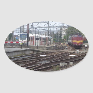 Passenger Trains arriving at station, sticker