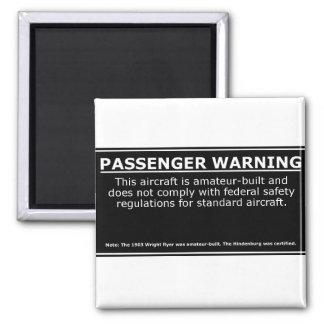 PASSENGER WARNING 2 INCH SQUARE MAGNET