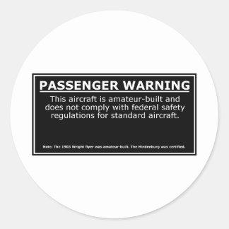 PASSENGER WARNING CLASSIC ROUND STICKER