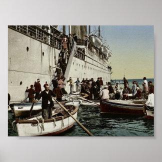 Passengers disembarking, Algiers, Algeria classic Print