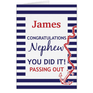 Passing Out Nephew British Navy Anchor Congrats Greeting Card