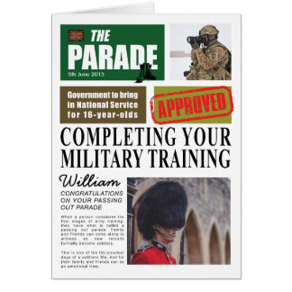 Passing Out Parade Newspaper Article Congrats Greeting Card