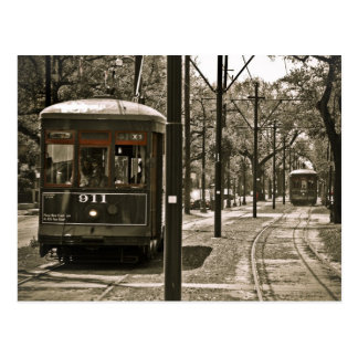 Passing Streetcars Postcard