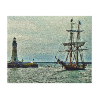 Passing The Lighthouse Stretched Canvas Print
