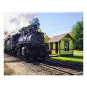 Vintage steam engine & train passing through Chester