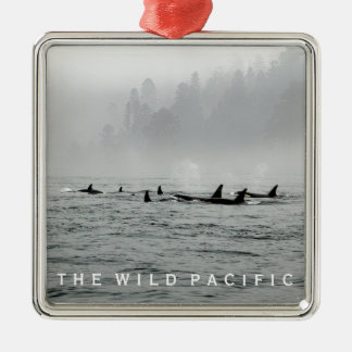 Passing Whales Metal Ornament