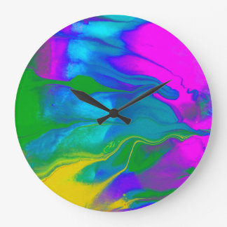 Passion #2 Courful Abstract Swirling Colors Large Clock