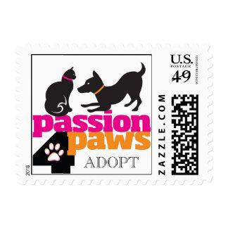 Passion 4 Paws ADOPT Logo Postage Stamp