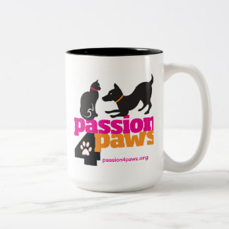 Passion 4 Paws Logo with Dog & Cat Two-Tone Coffee Mug