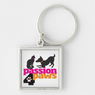 Passion 4 Paws Square Keychain with Dog & Cat